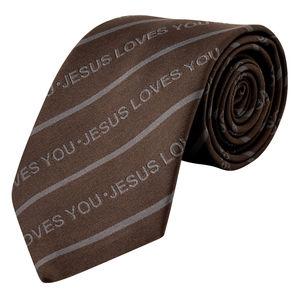 Necktie- Jesus loves you- Grey Color