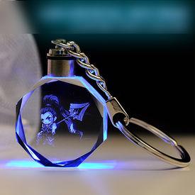 Personalized Crystal photo keychain with LED light Round Sunflower Shaped