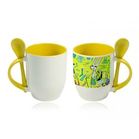 Personalized photo mug - Spoon mug Yellow with colored handle