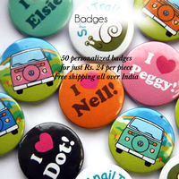 44mm/58mm 50 pcs Personalized Smiley Button Badges