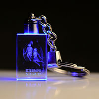 Personalized photo keychain with LED light 3D Crystal Rectangle
