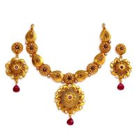 Gold Forming (2 GM) Calcutti Necklace Set ( Afan002)