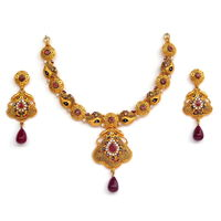 Gold Forming (2 GM) Calcutti Necklace Set ( Afan003)