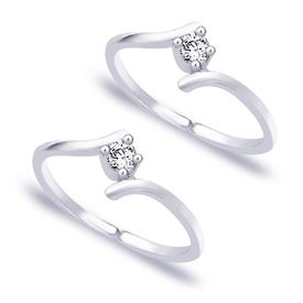 Round White CZ Silver Toe Ring-TR152