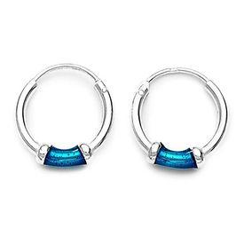 Hoops Silver Blue Earrings-ER013