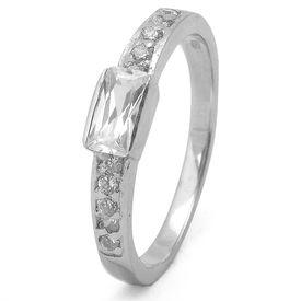 Appealing CZ Silver Finger Ring-FRL032