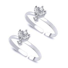 Classy Stone Silver Toe Ring-TR308
