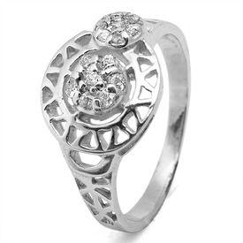 Designer CZ Silver Finger Ring-FRL042