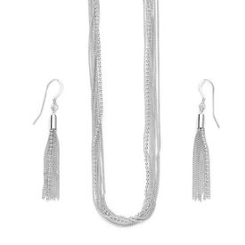 Multi Chain Silver Necklace Set-NS007