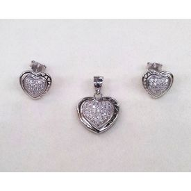 Forever Hearts Zircon Silver Pendant Set-PDS011