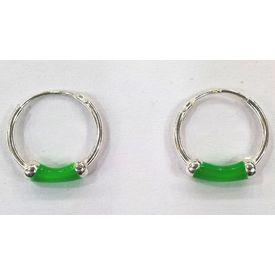 Green Hoops Silver Earrings-ER014