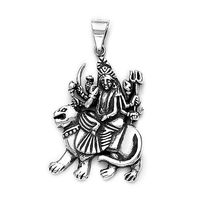 Goddes Durga On Lion Silver Pendant-PD052