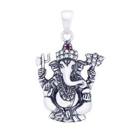 Ganesh Zircon Silver Pendant-PD005