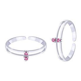 Pink Stone Silver Toe Ring- TR250