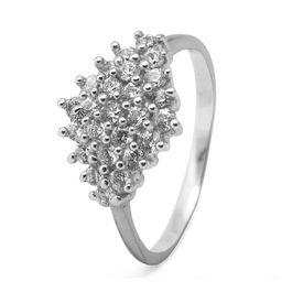 Classy White Zircon Silver Ring-FRL021