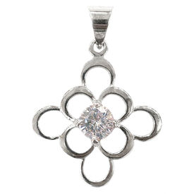 White Zircon Studded Silver Pendant-PD014