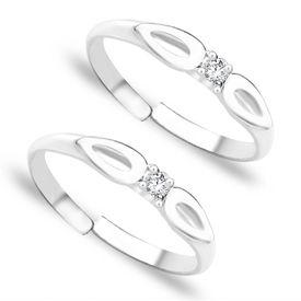 Petals White Stone Silver Toe Ring-TR251