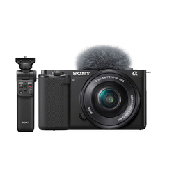 Sony ZV-E10 Mirrorless Camera with 16-50mm Lens and Sony GPVPT2 Shooting Grip,  black