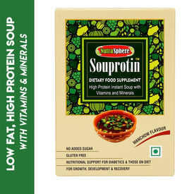 NutraSphere Instant Manchow Soup with Vitamins & Minerals (Sugar Free, High Protein), 200 gms - 6 sachets