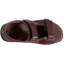 Health Plus Diabetic footwear - Men - Leather Sandals with Reverse Staps, 6, brown