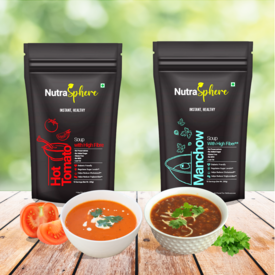 NutraSphere Instant Tomato & Manchow Soup Mix Helpful for Sugar Cholesterol Control (High Fiber, Sugar Free) - 400g, 20 Sachets