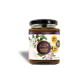 Zevic Sugar Free Belgian Keto Chocolate Almond Spread with 50% Almonds, Natural Almond Oil (No Palm Oil) & No Sugar 250 gm - Sweetened with Stevia