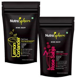 NutraSphere Healthy Diet Combo Lemon Coriander Diet Soup & Rose Sabja High Protein Milkshake - 10+ 10 Servings