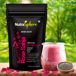 NutraSphere Instant Rose Sabja Natural Fat Burner MilkShake Mix (High Protein, Sugar Free), 200 gms - 6 sachets