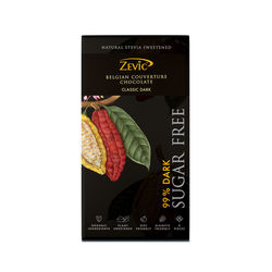 Zevic 99% Dark Belgian Couverture Chocolate with Stevia 96 gm
