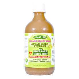 DrNATcURE Apple Cider Vinegar for Heart-care, Blended with Ginger, Garlic, Lemon, Honey - 500 ml