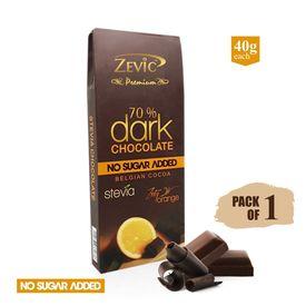 70% Dark Belgian Chocolate with Orange Zest and Stevia 40 gm