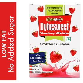 NutraSphere Instant Strawberry Sabja Sugar Free MilkShake Powder (High Protein, Natural Fat Burner), 400 gms - 12 sachets