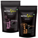 NutraSphere Beet Tomato Antioxidant Soup, Hot n Sour Protein Soup Mix Powder (Combo of 2)