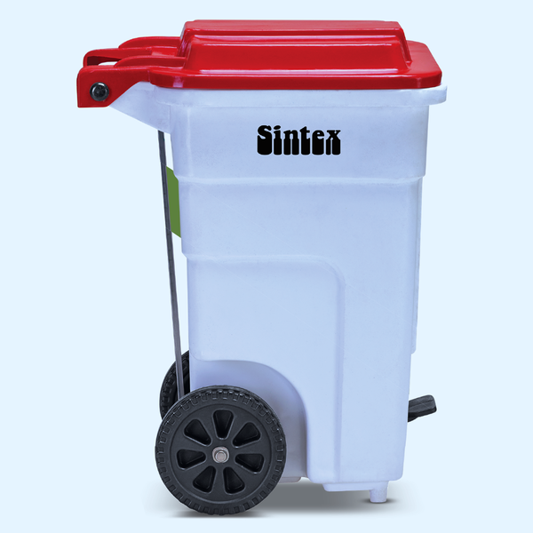 Foot operated wheeled waste bins: GBRW series, red , 60 liters