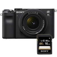 Sony Alpha a7C Mirrorless Digital Camera with 28-60mm Lens with Memory Card Bundle, Black