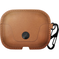 Twelve South AirSnap Pro Leather Road Case for AirPods Pro,  Cognac