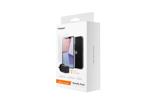 Spigen iPhone 12 Mini Clear Case+ Tempered Glass+ Wall Charger 27w Bundle