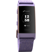 Fitbit Charge 3 Fitness Wristband Special Edition, Lavender Woven/Rose Gold Aluminum
