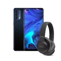 Oppo Reno 4 128GB Smartphone LTE, Galactic Blue+ JBL Live 500BT Wireless Over Ear Headphones, Black Bundle