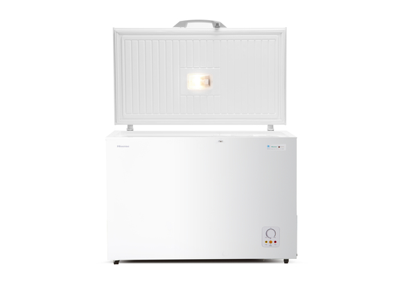 Hisense A+ Chest Freezer 330 LTR, keep food for 135 Hours without power, Refrigerator convertible switching function, Easy to clean, Fast freeze, White