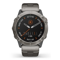 Garmin Fenix 6X Pro Solar Edition Multisport GPS Watch, Titanium Carbon Grey