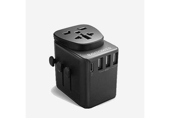 RAVPower 3 USB+ 1 Type-C Power Delivery Port Universal Travel Adapter 30W