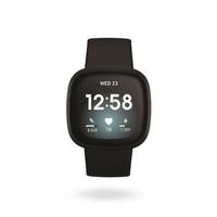 Fitbit Versa 3 GPS Smartwatch,  Black / Black Aluminum