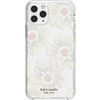 Kate Spade New York Protective Hard Shell Case for Apple iPhone 11 Pro, Cream With Stones/Hollyhock Floral Clear