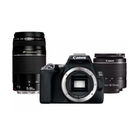 Canon EOS 250D DSLR Camera, Black+ EF-S 18-55mm f/3.5-5.6 III+ EF 75-300mm f/4-5.6 III Lens