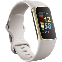 Fitbit Charge 5 Fitness & Health Tracker,  Lunar White / Soft Gold Stainless Steel