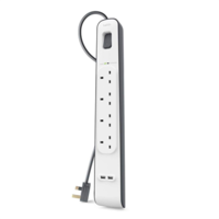 Belkin 4 Way/ 4 Plug Surge Protection Extension Lead Strip with 2 x 2.4 A Shared USB Charging Port, 2 m Cable, White