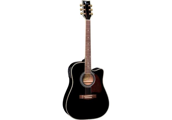 Yamaha FX370CBLK Acoustic Electric Guitar, Black