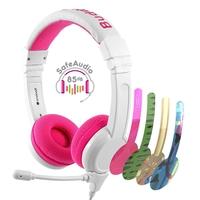 BuddyPhones School+ Safe Audio School Headphones for Kids, Pink