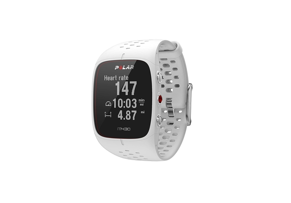 بولار , Polar M430 GPS35 ساعة الجري بنظام جي بي اس مع مراقب لنبضات القلب مثبت على السوار ، أبيض